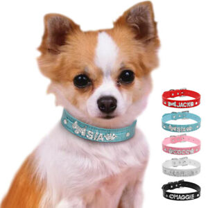 Personalized Leather Pet Cat Dog Collar Customized Rhinestones Free Name & Charm