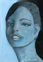 Blue Portrait Painting Small Wall Art Katie Jeanne Wood