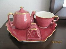 Royal Winton Grimwades Mottled Pink with Gold Trim 6-Piece Breakfast Tray Set