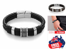 Magnetic Unisex Buckle Bracelet Bangle Cuff Leather Stainless Steel Braided 1pc