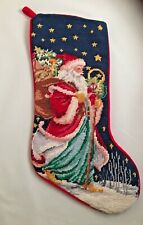 Christmas Needlepoint by Hand Santa Stocking 100% Wool Embroidery
