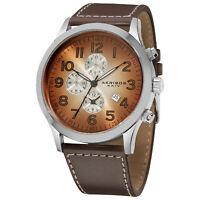 Men's Akribos XXIV AK603BR Arabic Numeral Gradient Dial Genuine Leather Watch