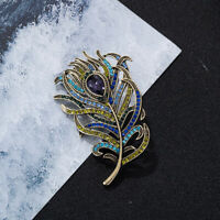 Brooch Pin Crystal Vintage Accesso Jewelry Rhinestone Antique Women  Feather
