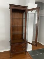 Vtg. Cherry Curio Cabinet With Drawer