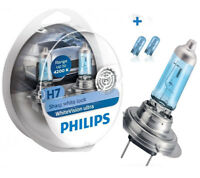 Philips White Vision Ultra More Light Car Headlight Bulbs H7 + W5W 12972WVUSM