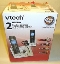 New VTech LS6475-3 DECT 6.0 2 Handset 1 Headset Cordless Phone Answering System