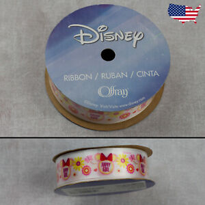 """7/8"""" Disney Minnie Mouse White Ribbon-Offray  3 yds (9 ft) Happy Girl Flowers"""