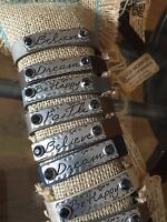 Good Works Leather Bracelet metal plate with crystals affirmations