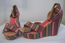 ROCKET DOG Multi-colored Striped Textile Ankle-Strap Wedge Heel Sandal Shoes 10M