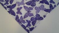 Dog Bandana/Scarf Purple Tie On Butterflies Custom Made by Linda Xs S M L xL