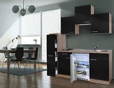 Küche Küchenzeile Singleküche Küchenblock 180 cm Eiche Sägerau schwarz respekta