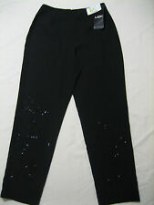 nwt msk from stein mart flower beaded formal black Pants 100 POLY SIZE 6P (27X27