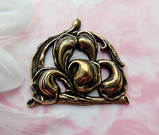 ANTIQUE BRASS Leaf & Iris Flower Stamping ~ Jewelry Oxizided Finding (FB-6062)