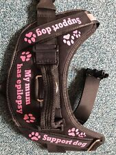 PERSONALISED any name SMALL DOG / PUPPY HARNESS Pug Frenchie Adjustable 🐾 Pink