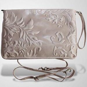 Clutch Abendtasche Schultertasche Leder Umhänge Tasche Handtasche Rosé 1
