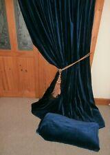 """Huge Bespoke Sapphire Blue Vintage Velvet Curtains 86""""Drop ~ 224""""Wide. Pair One"""