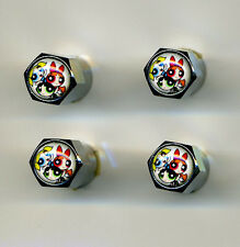 Powerpuff Girls 4 Chrome Plated Brass Tire Valve Caps Car & Bike Powerpuff Girls