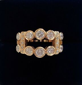 Fine 1.00ct Diamond Ring 750 (18ct) Rose Gold - Two Row - Size O (US 7) - 6.6g