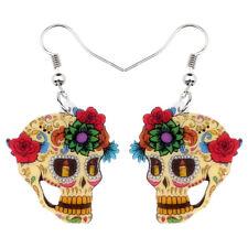 Acrylic Unique Halloween Floral Skull Earrings Dangle Festival Jewelry For Women