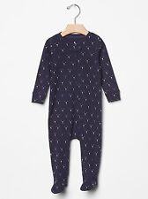 Gap Baby Boy Size Newborn Navy Blue Teddy Bear Zipper One-Piece Bodysuit Romper