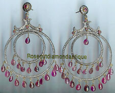 4.06ct Silver Ruby Amazing Party Earrings Artdeco Uncut Antique Rose Cut Diamond