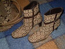botas botines Coach piel y lona tacon se regala cinturon o comprelo antes vender