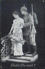 AK Postcard 1916 Army Soldiers Romance Armee Soldaten Woman Feldpost WWI (22)