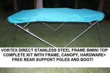 "NEW TEAL VORTEX STAINLESS STEEL FRAME BIMINI TOP 8 FT LONG, 91-96"" WIDE"