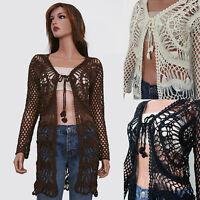 Ivory Brown Black Long Sleeve Crochet Knit Cardigan Sweater Top Blouse S/M M/L