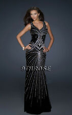 SET A SHINING EXAMPLE! BLACK FORMAL/EVENING/PROM WITH BEADING STREAMS; AU14/US12