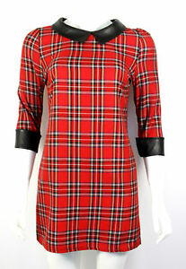 WOMENS/LADIES FAHSION TARTAN CONTRAST LEATHER COLLAR AND CUFF SHIFT DRESS