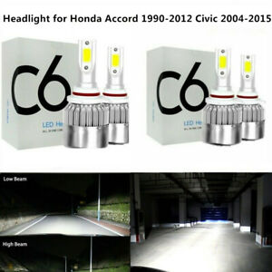 4x Combo 9005 9006 Hi-Lo LED Headlight for Honda Accord 1990-2012 Civic 2004-15