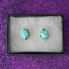 NICE 925 argento orecchini con turchese 2.4 GRAMMI 1.3 x 1 cm. largo in scatola