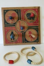 Vintage Wooden RING TOSS Game w 3 Rope Bead Rings