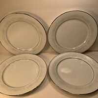 4 NORITAKE ''CUMBERLAND'' DINNER PLATES 10 1/2'' JAPAN PLATINUM RIMS