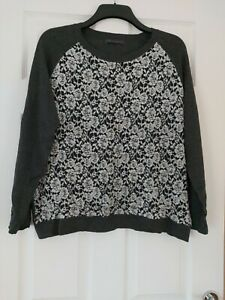 Ladies M&S Collection Grey Flowery Jumper Long Sleeves Size 18 Plus Size