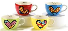 ROMERO BRITTO 'Hearts' Cappuccino Cups / Mugs Ceramic Set of Four 16 oz. **NEW**