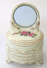 Vintage Round Dresser with Mirror Powder Jar