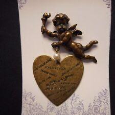 Woman lady flowers in hair dahlia heart brass pin pendant love hearts B-WOM-2C