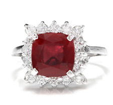 4.40 Carats Red Ruby and Natural Diamond 14K Solid White Gold Ring