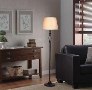 Hampton Bay Rhodes 58.50 in. Bronze Floor Lamp with Natural Linen Shade
