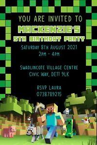 Personalised Childs Birthday Party invitations/invites ~ Minecraft Invites - MC1