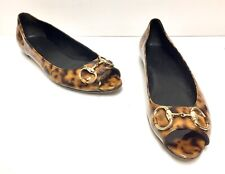 GUCCI Designer Open Toe Flat Animal Print Shoes, Size 8 1/2B - Pre-owned
