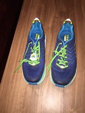 Hoka One One Clifton 4 Men Running Shoe 10.5 Blue Neon Workout Trail Fit