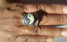 Tibetan PEACE Tribal Adjustable Ring Pewter Cuff Ying Handmade Nepal FairTrade