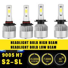 2 Pairs 9005 H7 Headlight Coversion LED Bulb Kit High Beam White 97500LM 650W