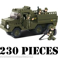 SLUBAN MILITARY TROOP CARRIER TRUCK CONSTRUCTION BUILDING BRICKS 4 SOLDIERS 0301