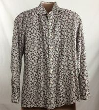 Cremieux Men's Button Front Shirt Size X Large Scroll Print Long Sleeve