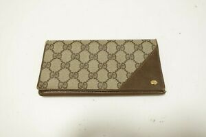 Authentic GUCCI GG Vintage Brown Leather Wallet  #9609