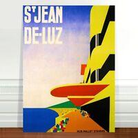 """Vintage Travel Poster Art ~ CANVAS PRINT 16x12"""" ~ St Jean De Luz France"""